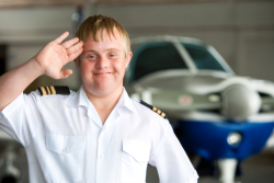 disabled man doing salute